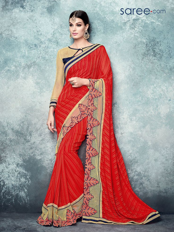RED CHIFFON SAREE WITH EMBROIDERY WORK  #Saree #Chiffonsarees #Redsaree #Sari #Indianfashion #fashionIndia #red #sareelover