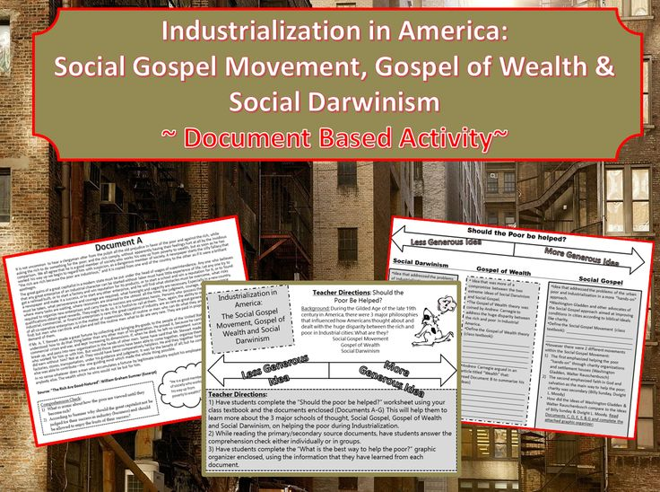 social darwinism and gospel of wealth Andrew carnegie effectively softened some of the harshness of the theory of  social darwinism he preached that ostentatious living and.