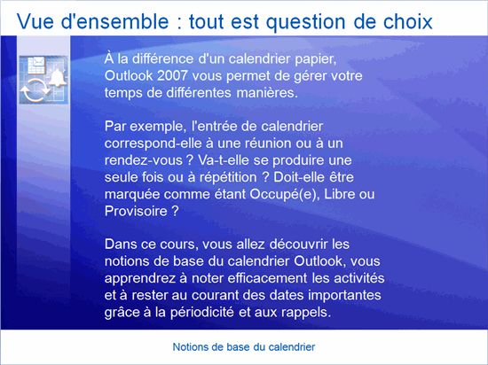 Présentation de formation: Outlook 2007— Principes de base du calendrier