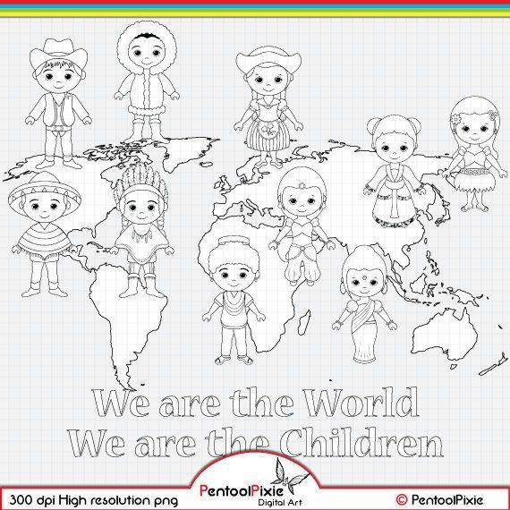 Children Around The World Digital Stamp Clipart World Children