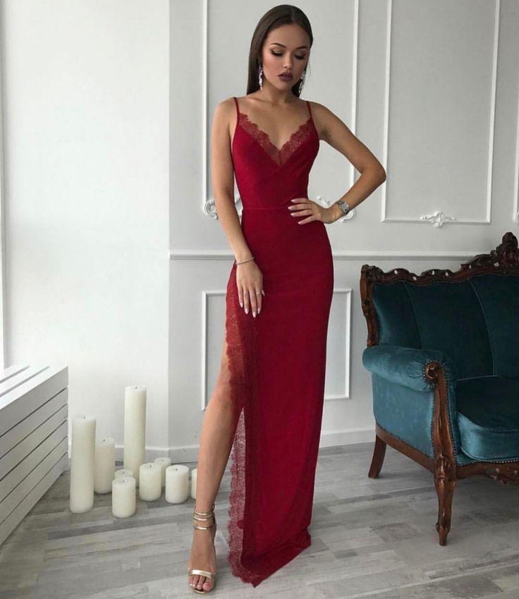 Sexy Burgunder-Spitze-Abschlussball-Kleid, festes Spaghetti-Bügel-langes Parteikleid mit ...