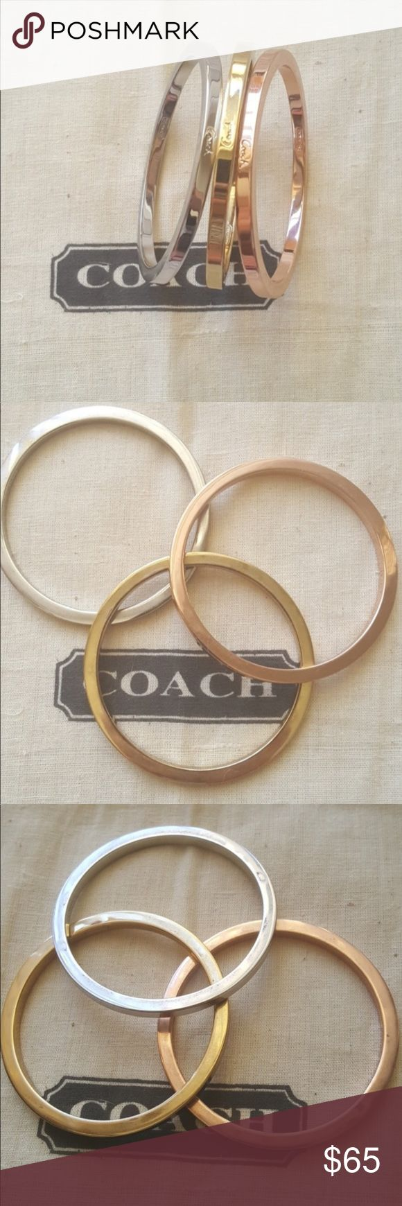 Coach mix metal bracelet bangle set Trio of gold, rose gold and silver bracelet set. It has coach written in scripts. Minor scratches hardly noticeable please review all photos as they serve as part of description. Coach Jewelry Bracelets