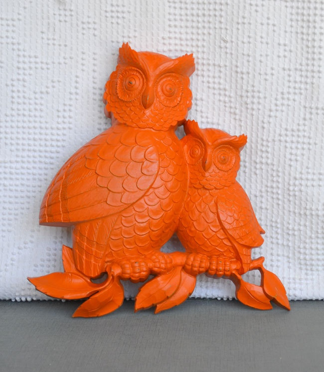 You Choose Color Wall Owls Hanging Upcycled Homco Resin Owl Decor Bright Funky Orange Baby Nursery Aqua C Yellow