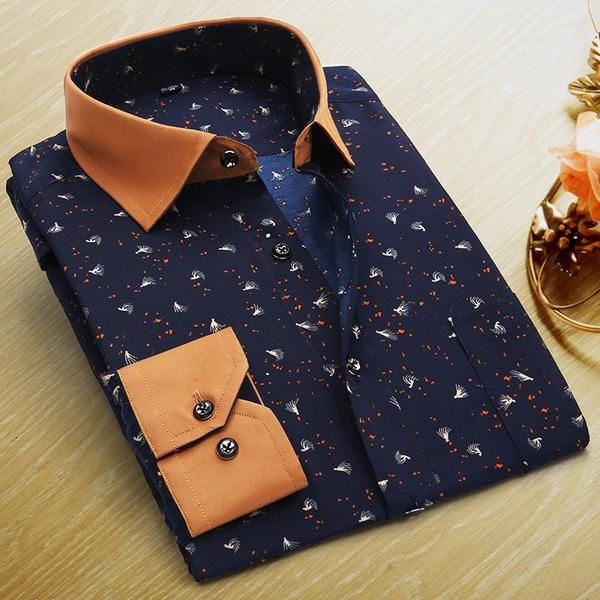 ,  Floral Print Long Sleeve Mens dress shirt - Look legit