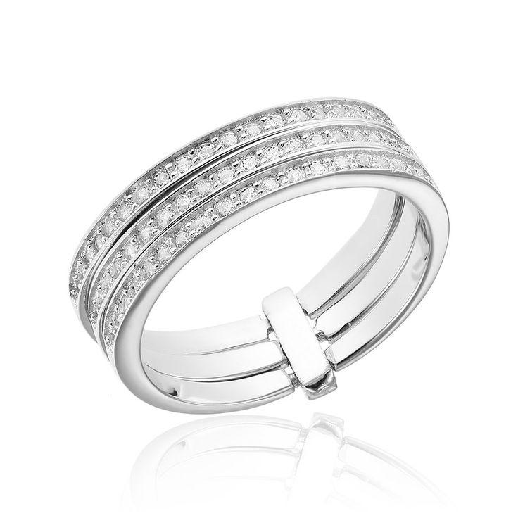 Grup de 3 inele argint Semi Eternity cu cristale Cod TRSR077