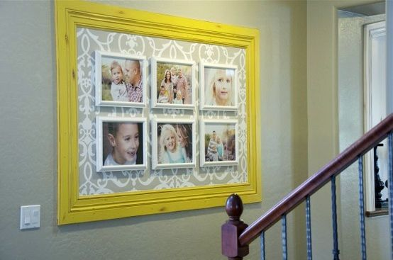 Large frame with wallpaper and smaller frames inside…brilliant! ------------------------- #frame #wallpaper #picture #frames #custom #framing