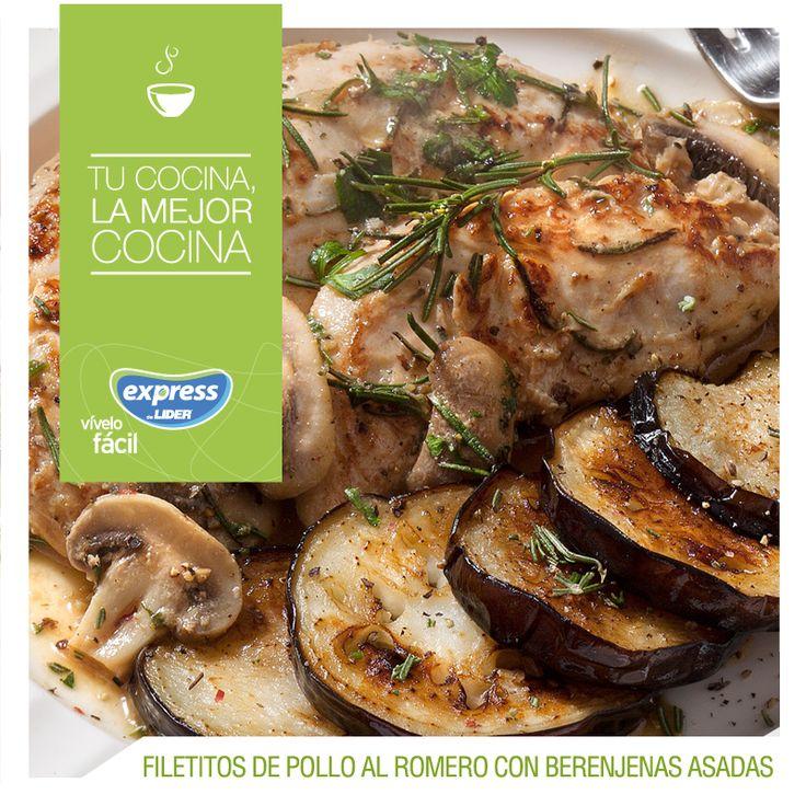 Filetitos de pollo al romero con berenjenas asadas / #RecetarioExpress #Expressdelider #Receta #Food #Pollo #Romero #Berenjenas