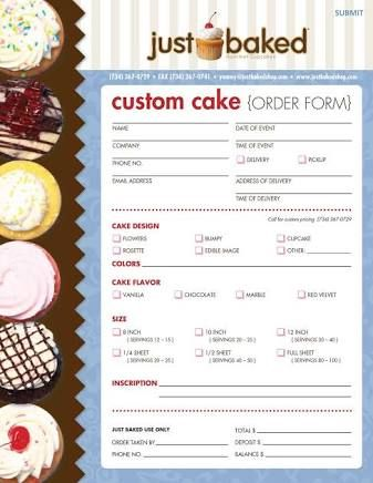 cake order form - Google Search                                                                                                                                                                                 More