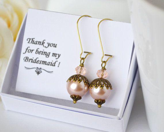 Blush bridesmaid earrings set of 3 4 5 6 7 by ArtemisBridalJewelry