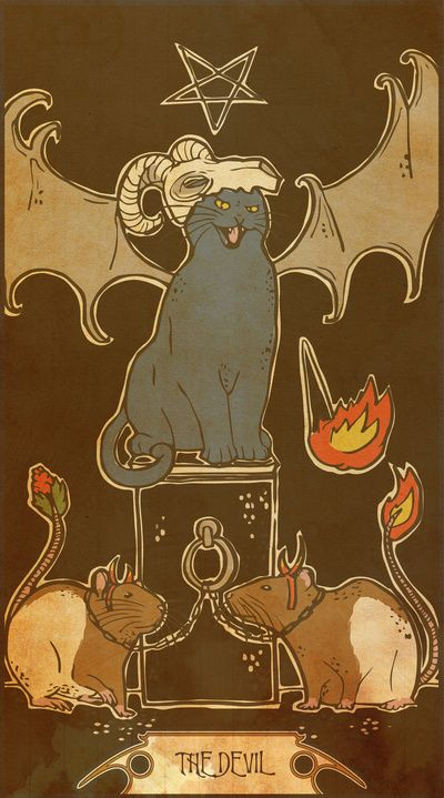 Midio. The Devil. Card #15 of the Muroidea Rat Tarot.