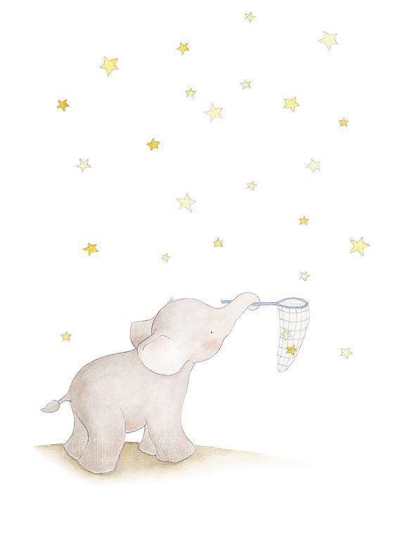 Title; Baby Elephant Catching Stars This is a print from my original illustration . The image is centered to fit with the paper size