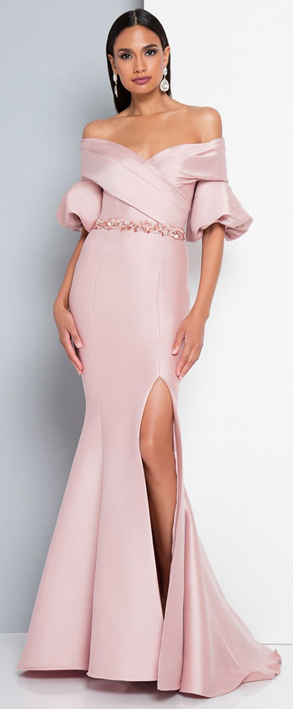 ca54af27aa2 Attractive Satin Off-the-shoulder Neckline Floor-length Mermaid Prom Dresses  With Beadings   Slit