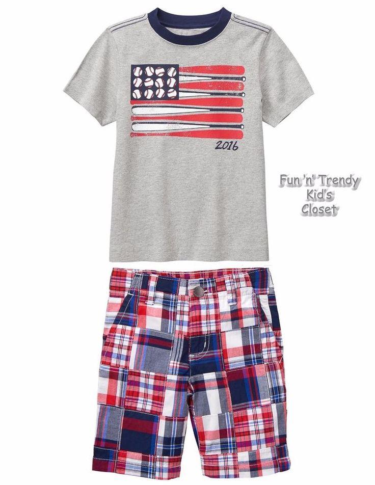 NWT Gymboree RED WHITE & CUTE Boys Sz 8 10 Baseball Flag Tee Shirt & Shorts SET #Gymboree #4thofJulyEverydayHoliday