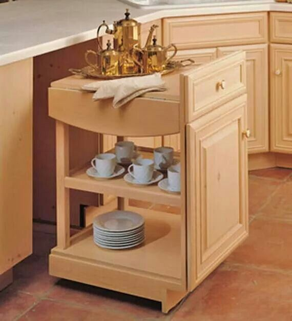 Movable in-built tea trolley in a kitchen cabinet