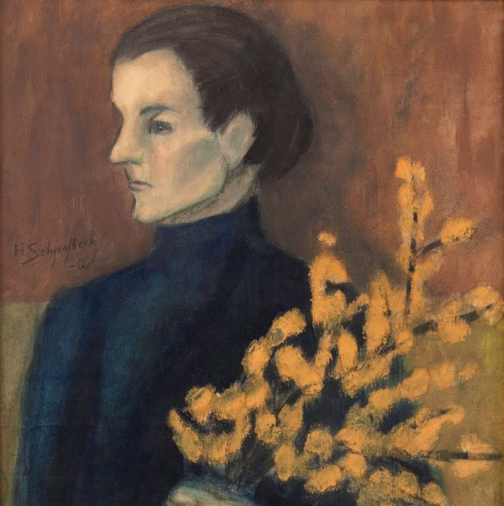 Helene Schjerfbeck (Finnish, 1862–1946) Woman with Willow Bouquet, Pastel, charcoal, oil on paper, 41.2 x 41.3 cm