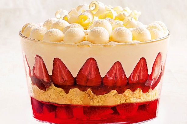 White chocolate snowball and strawberry trifle main image