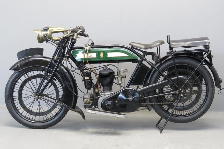 """BSA 1926 4 ¼ HP 557 cc """" H 26 """" frame # 1233 engine # M6681 BSA entered the motor cycle market with a sturdy 3 ½ HP belt driven single geared machine, that was displayed at the 1910 Olympia show. It was constructed almost entirely from BSA- made components and was produced from ... Read more"""