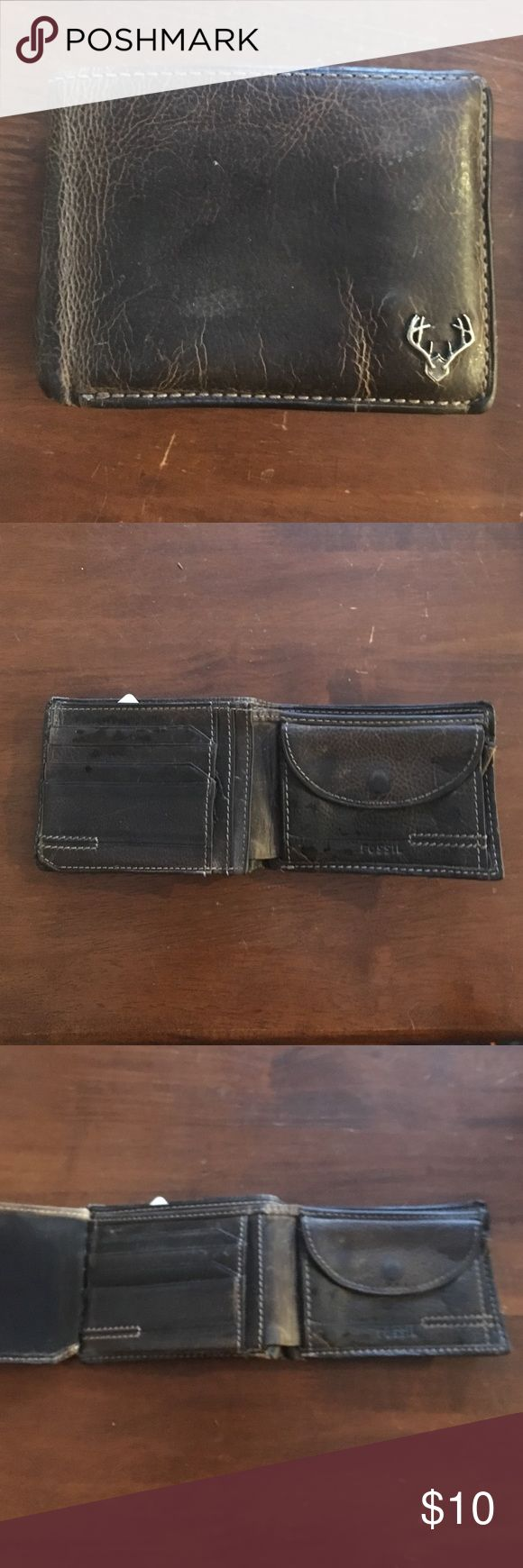 Fossil Wallet Used with much love! Men's wallet, hubs used for several years, has a really cool elk mount in the corner! Fossil Other
