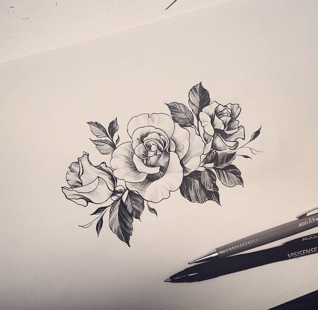 Minimalist rose tattoo. Artist: tattooist_doy