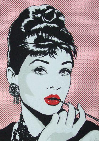 Antonio de Felipe - Audrey Hepburn and red lipstick pop art