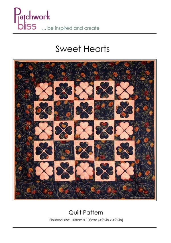 Sweet Hearts Quilt Pattern - Free Just two fabrics combine to create the alternate light and dark blocks. The hearts use simple blanket-stitch applique on 6 inch squares. The pattern has detailed, step-by-step instructions with all the templates you need for the applique and the big-stitching quilting.  Sweet Hearts is easy to make and is perfect for a beginner.