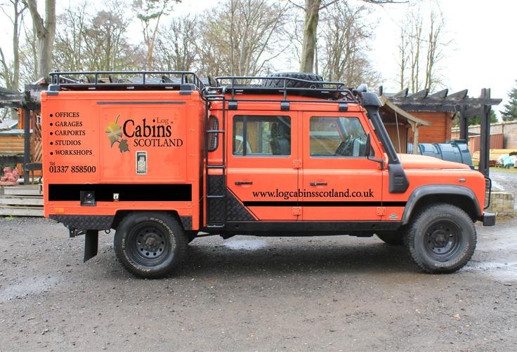 Tango, Log Cabins Scotland, 130 quadtech bodied crewcab Landrover Defender