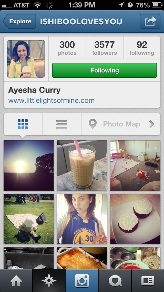 Follow Ayesha Curry on IG! She has so many cute pictures!! (Stephen Curry's wife)