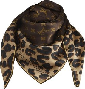 Louis Vuitton monogram and leopard silk square