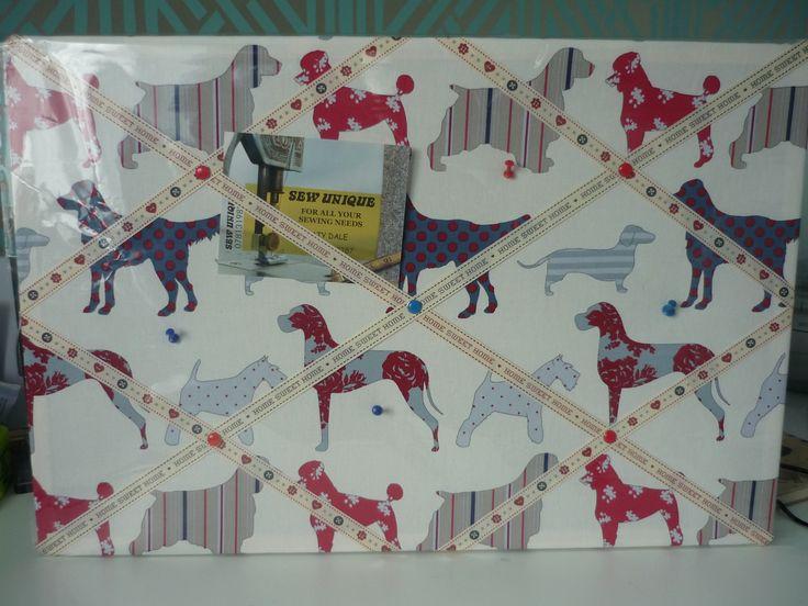 Fabric Pin Board in Clarke and Clarke dog print fabric