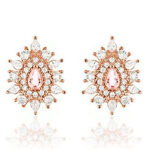 Brinco de Gota Semijoia em Ouro Rosé 18K com Zircônia Branca e Cristal Rosa Safira