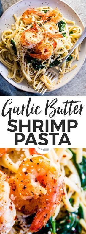 This Garlic Butter Shrimp Pasta is the quick weeknight dinner you've been looking for! Linguine smothered in a creamy sauce full of lemon and garlic flavors, tossed with browned shrimp. Quick to make (just 20mins!) and fancy enough for date night in or dinner party guests - the key to every pasta lover's heart! | #recipes #easyrecipes #easydinner #dinner #pasta #datenight #valentinesday #shrimp #quickshrimprecipes