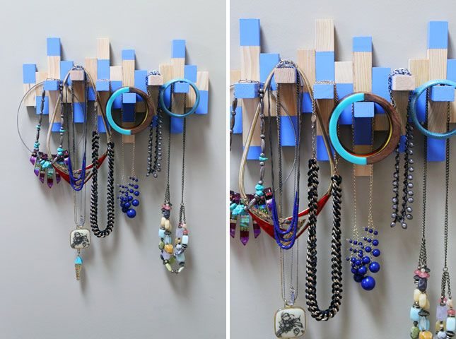 urn an Old Jenga Set into a Necklace Rack {Brit + Co} #paint #craft #diy