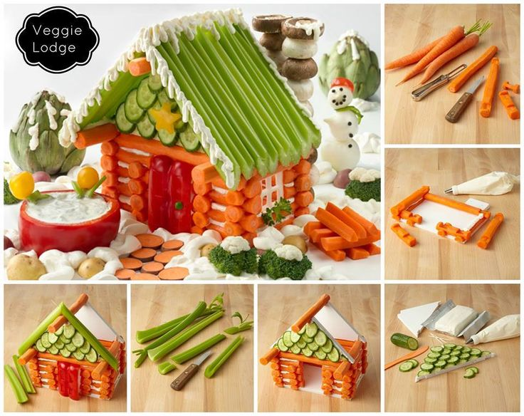 "What a fun way to make a ""gingerbread"" house for the holidays. This would be a perfect centerpiece for a party!Gingerbreadhouse, Veggies Lodges, Veggies House, Food, Cream Cheese, Christmas, Front Doors, Gingerbread Houses, Logs Cabin"