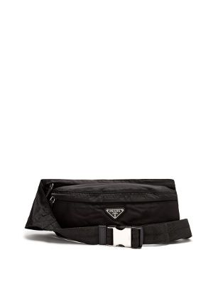 7e15a34bcca9 Prada Nylon belt bag Belt Bags, Prada Men, Metal Buckles, Black Canvas,