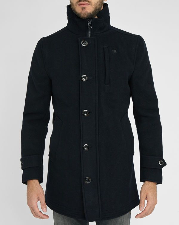 G-STAR Navy Standing Collar Wool Garber Trench Coat