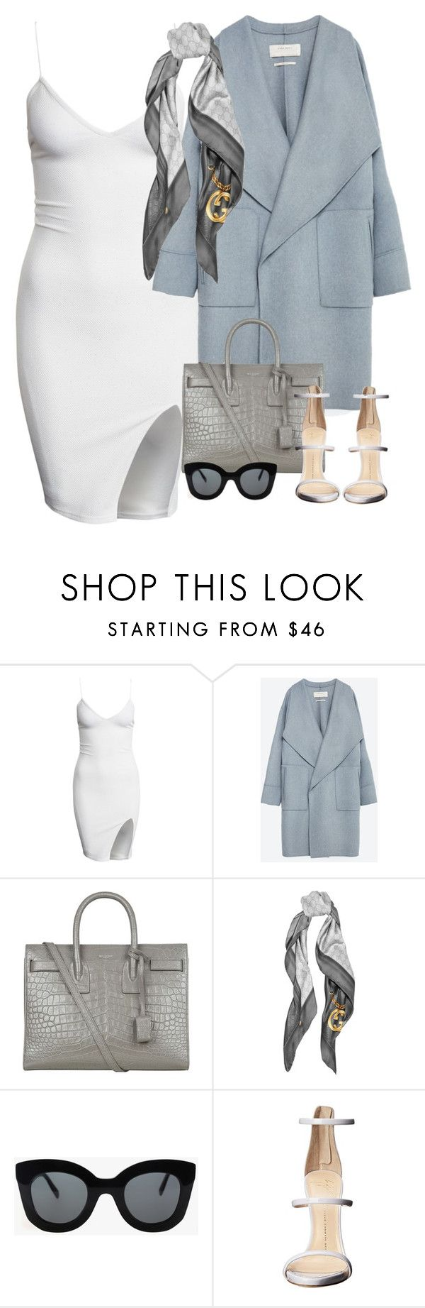 """""""Untitled #1574"""" by camila-echi ❤ liked on Polyvore featuring Zara, Yves Saint Laurent, Gucci, CÉLINE and Giuseppe Zanotti"""