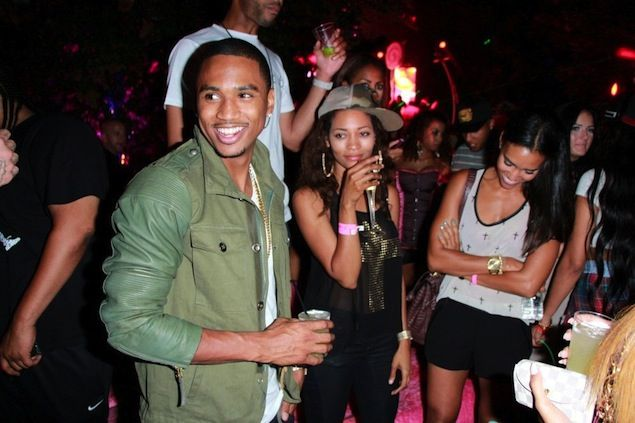 Trey Songz wears Diesel Lading Green Leather Jacket at 8th Annual Kandyland Event | UpscaleHype