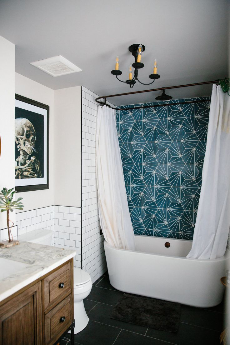 Teal Shower Tile Surround With Black And Wood Best