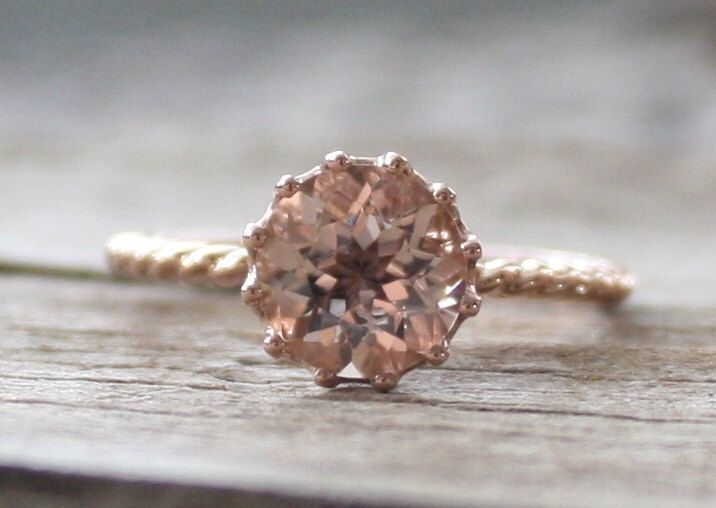 Solitaire Peachy Pink Cor-de-Rosa Morganite Twist Ring in 14K Rose Gold by Studio1040 on Etsy https://www.etsy.com/listing/202149306/solitaire-peachy-pink-cor-de-rosa