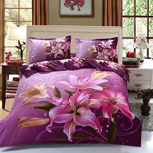 4 PCS Duvet Cover 3D Purple Lily Cotton Bedding Queen Set Flat Sheet Pillowcase #Suncloris #Cottage