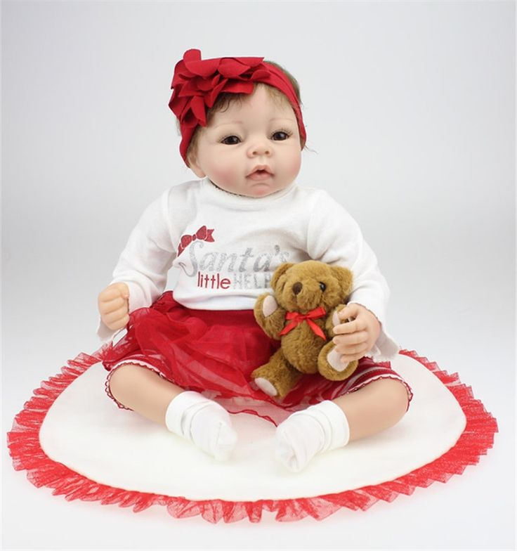 122.30$  Buy now - http://ali4vv.worldwells.pw/go.php?t=32723335615 - Kids Best Birthday Gifts 22 Inch Newborn Baby Dolls 50-55 CM Real Looking Lifelike Silicone Reborn Baby Dolls With Big Eyes
