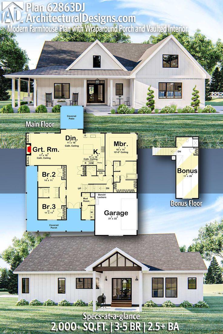 Plan 62863DJ Modern Farmhouse Plan with Wraparound Porch