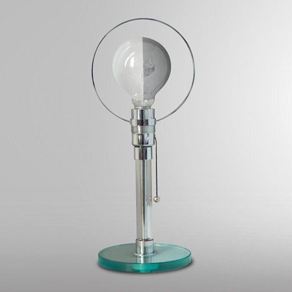 Art. 1994 - Tribute to C.J. Jucker. Lampada da tavolo con base in vetro, stelo tubolare in vetro con tiges interna e aureola in ottone cromato.