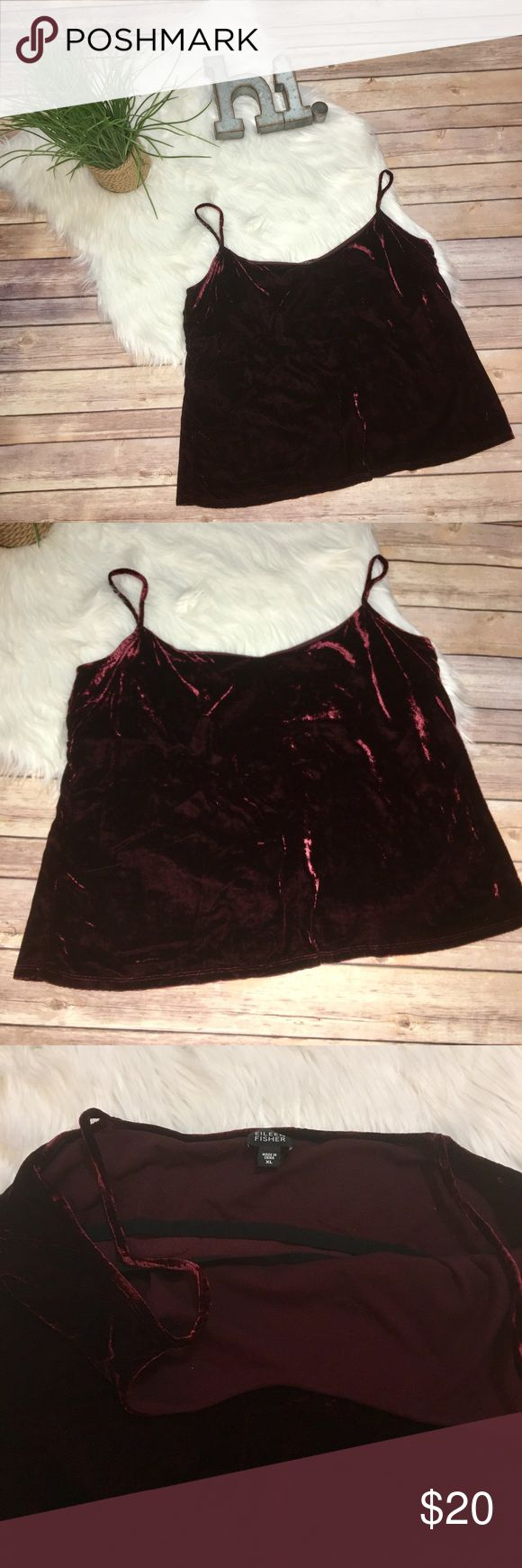 Vintage Eileen Fisher velvet cami with shelf bra Beautiful vintage camisole with built in shelf-bra. This velvet spaghetti strap camisole will be perfect for layering - this camisole appears to have a more boxy fit. Eileen Fisher Tops Camisoles