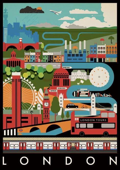 London tea towel by artist Mike Lamanski
