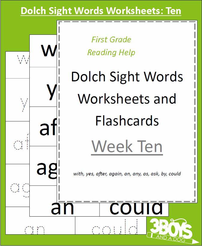 Dolch Sight Words Worksheets Week Ten Words, Children