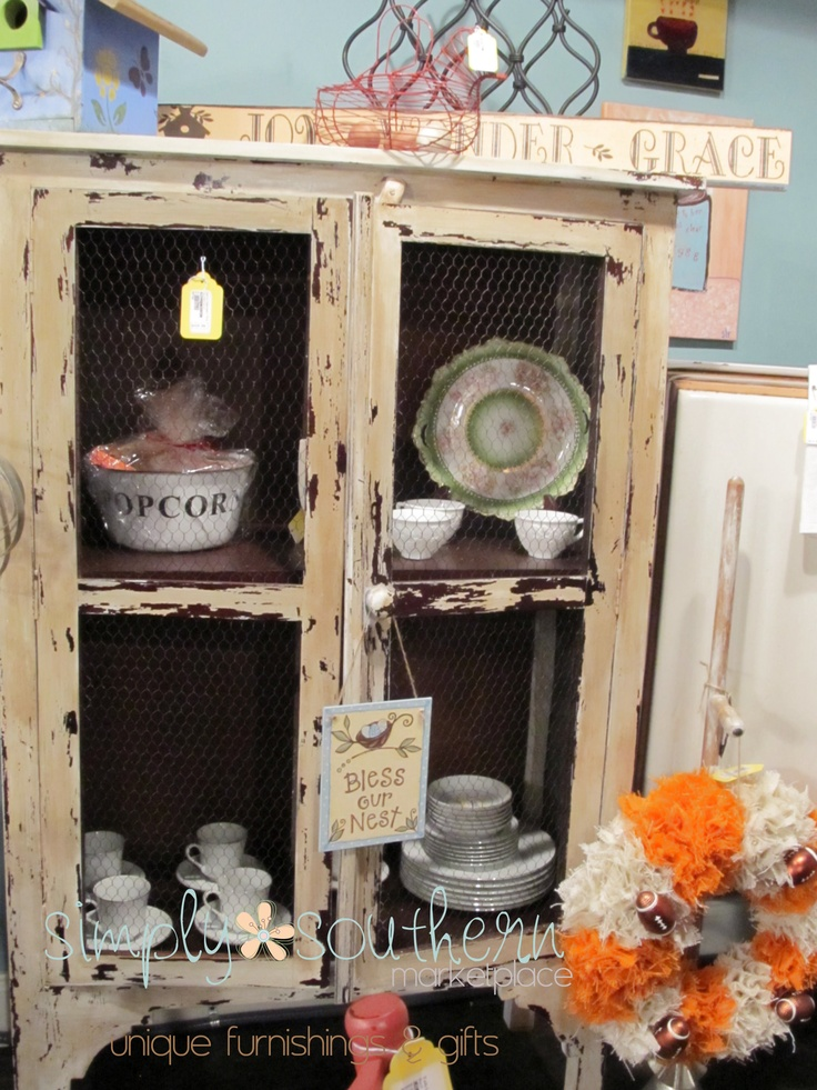 Miss Mustard Seed Milk Painted Vintage Pie Safe With Chicken Wire Front  Finished With Rugger Brown