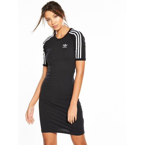 c0eaaf02c3ca Adidas Originals Adicolor 3 Stripes Tee Dress ($69) ❤ liked on Polyvore  featuring dresses, stripe jersey dress, tee shirt dress, striped dress, ...