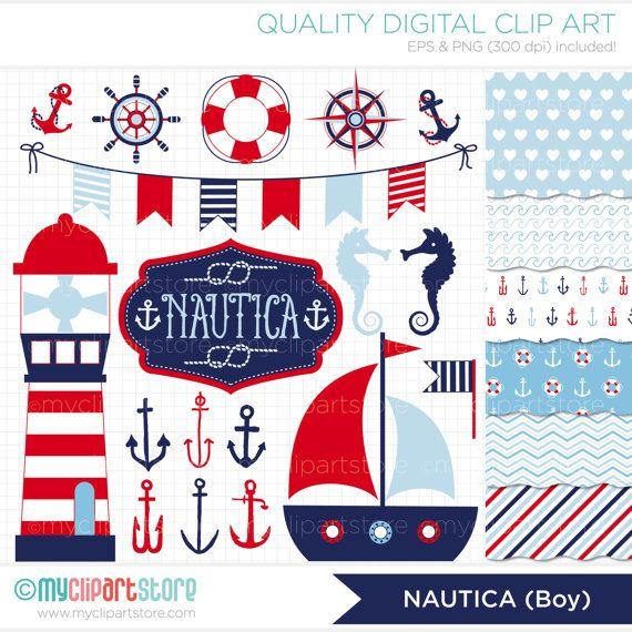 Combo de imágenes prediseñadas Nautica niño / por MyClipArtStore