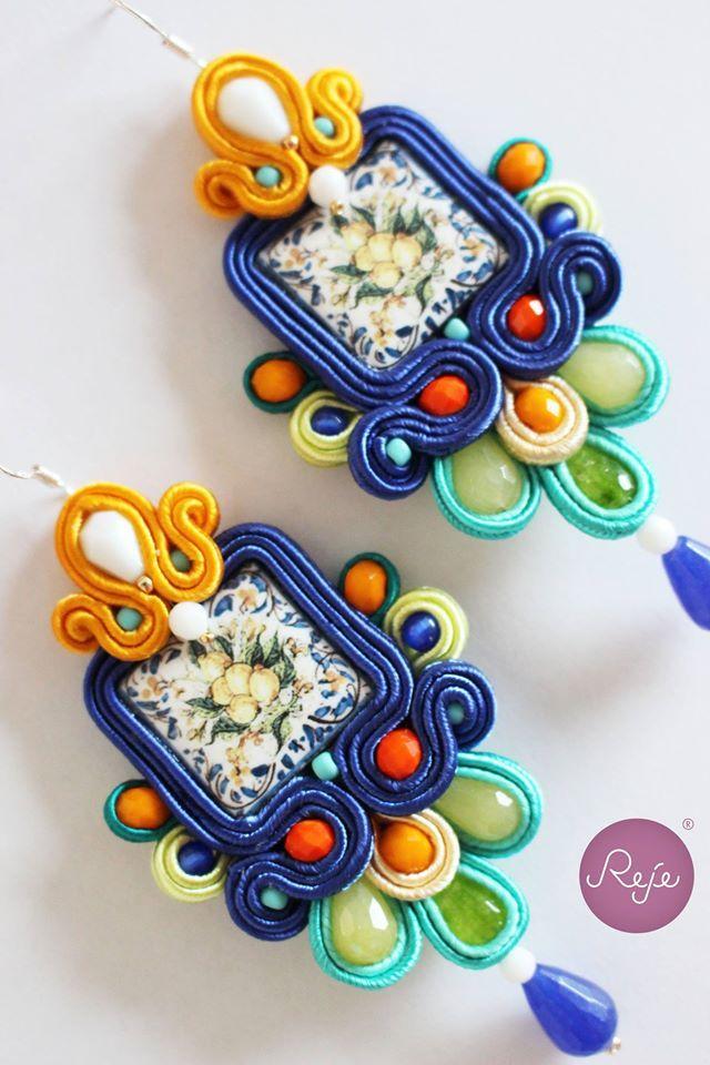 "Soutache earrings ""Sicily"". Entirely hand-sewn by Reje, Italian jewelry designer."